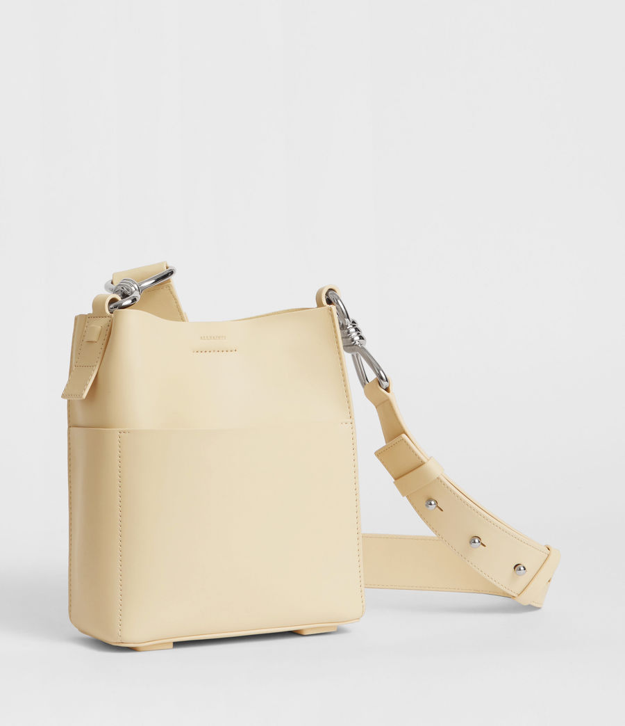 Women's Captain Leather North South Crossbody Bag (cream_white) - Image 4