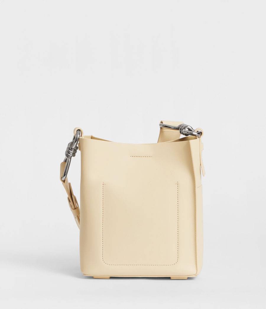 Women's Captain Leather North South Crossbody Bag (cream_white) - Image 6