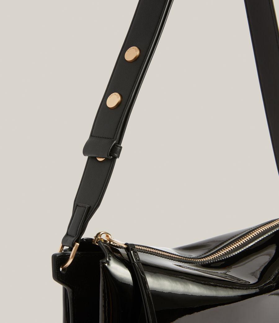 Womens Sheringham Leather Shoulder Bag (liquid_black) - Image 8