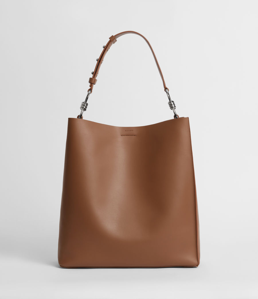 Womens Captain Leather North South Tote Bag (chocolate_brown) - Image 1