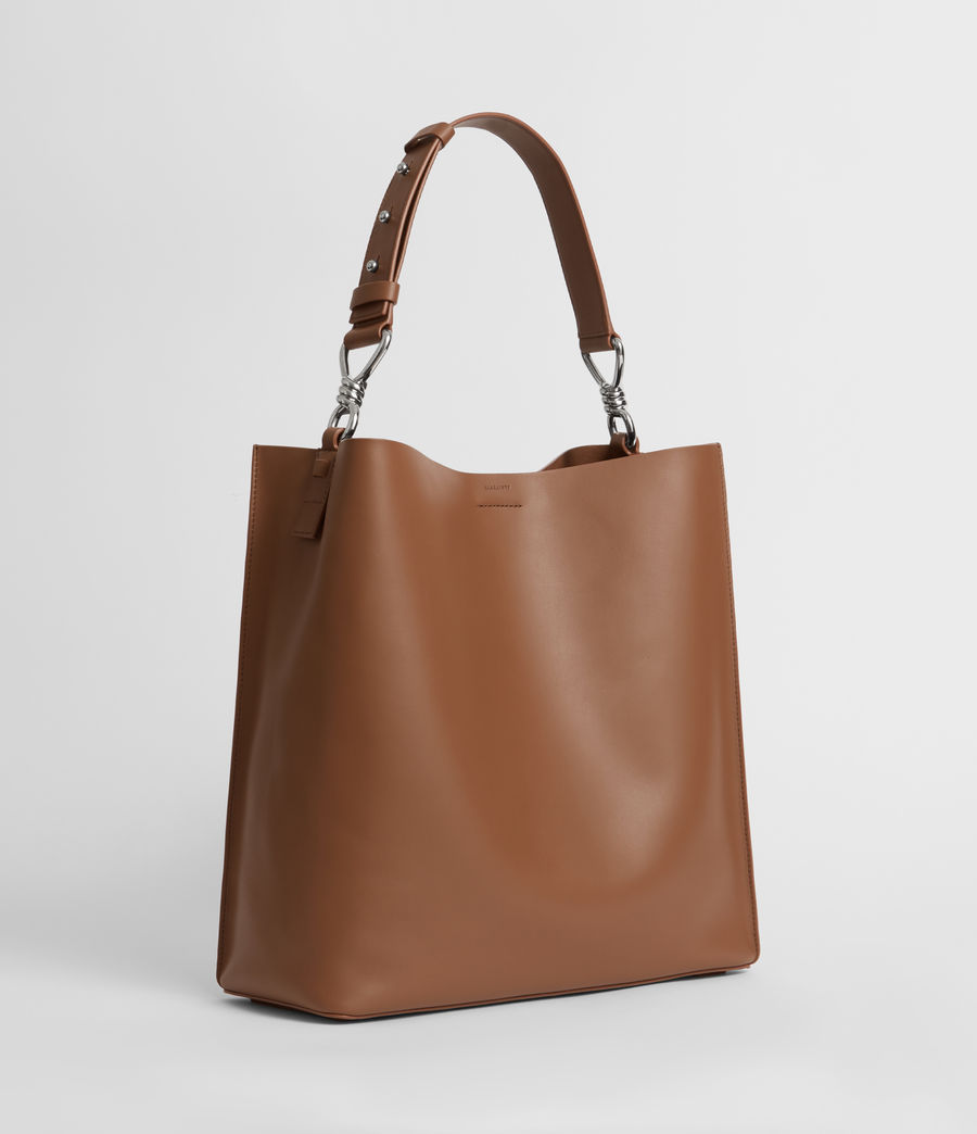 Womens Captain Leather North South Tote Bag (chocolate_brown) - Image 2