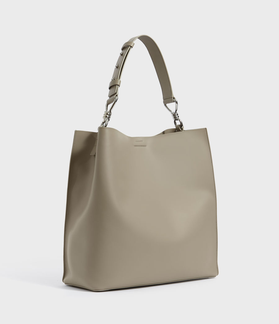 Womens Captain Leather North South Tote Bag (dune) - Image 3