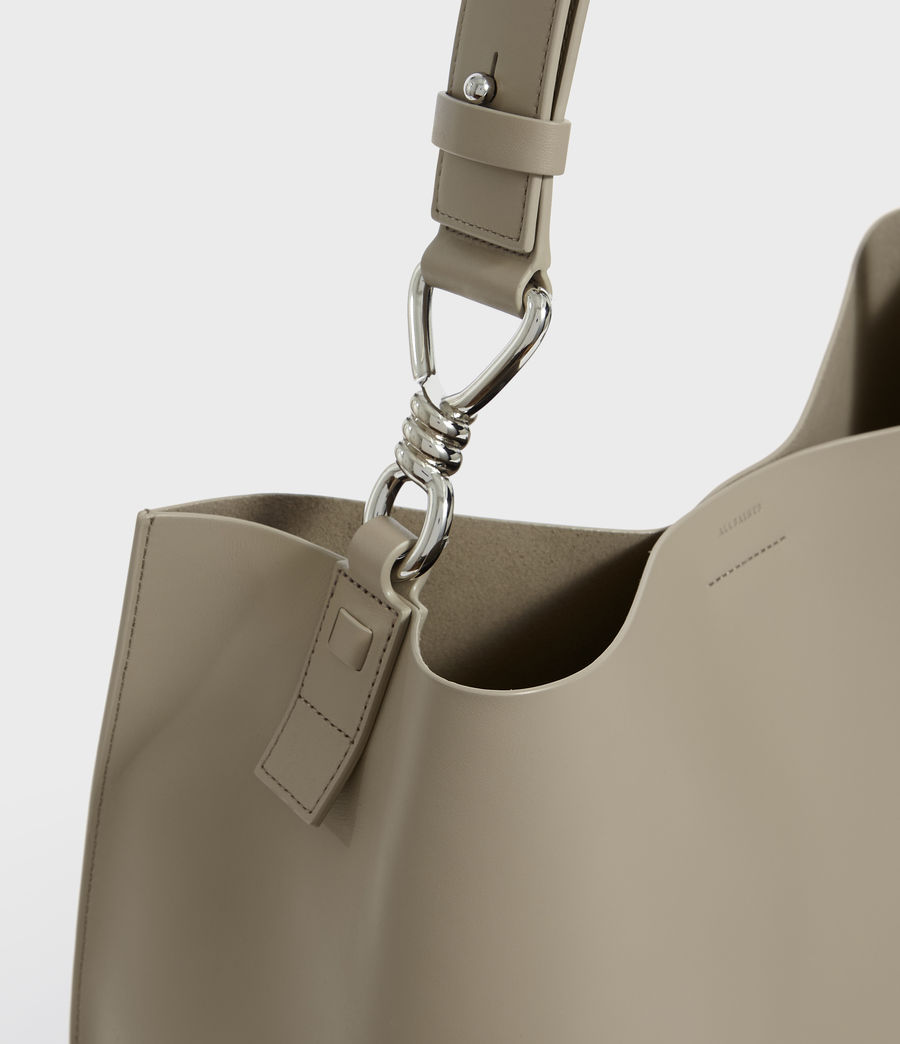 Women's Captain Leather North South Tote Bag (dune) - Image 4