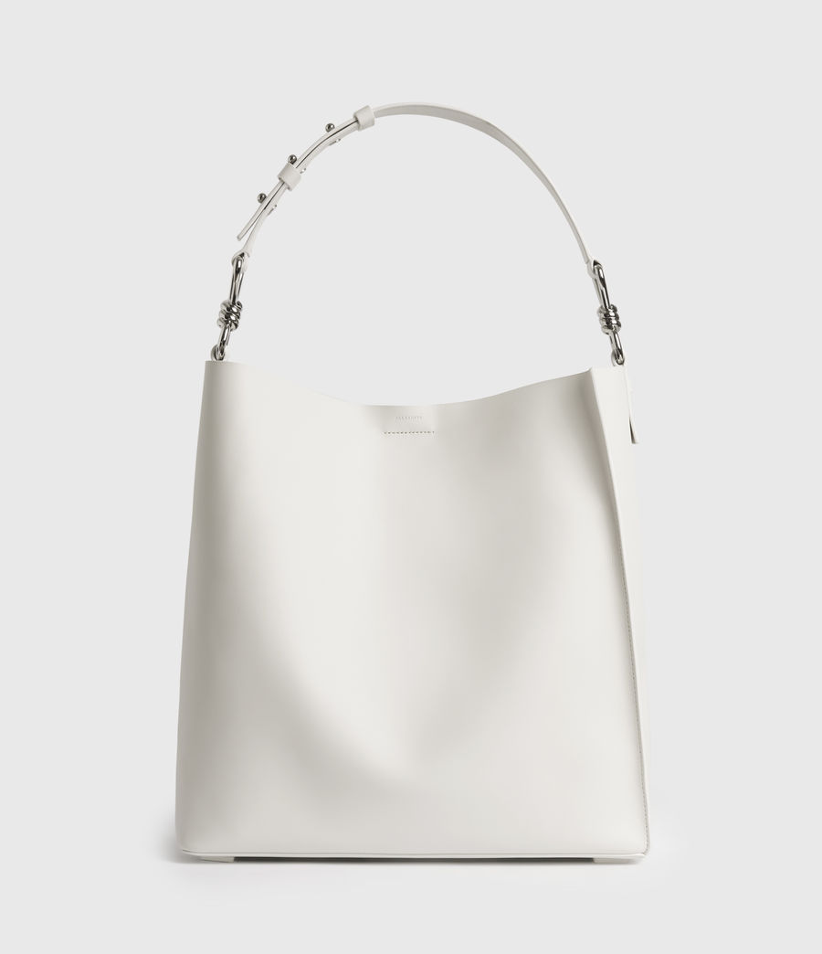 Womens Captain Leather North South Tote Bag (chalk_white) - Image 1