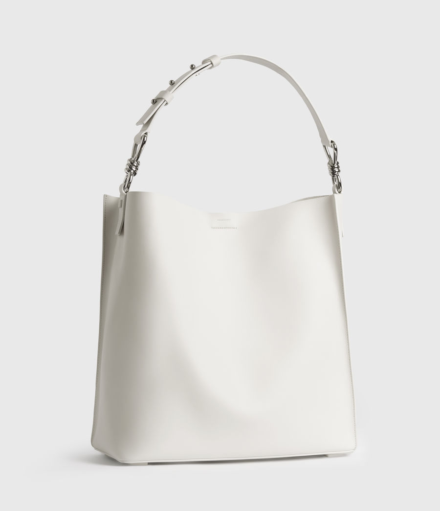 Womens Captain Leather North South Tote Bag (chalk_white) - Image 3