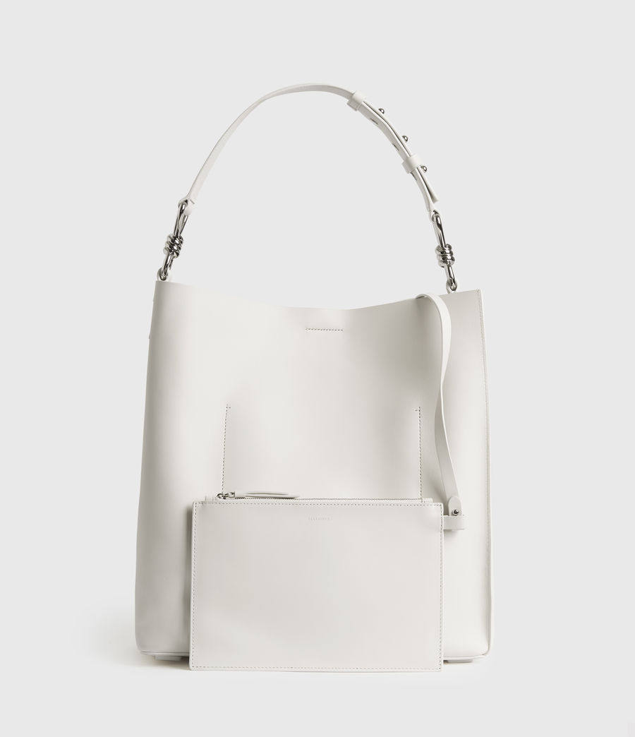 Womens Captain Leather North South Tote Bag (chalk_white) - Image 7