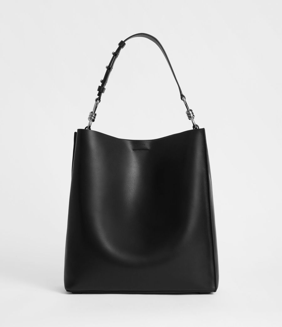 Women's Captain Leather North South Tote Bag (black) - Image 3