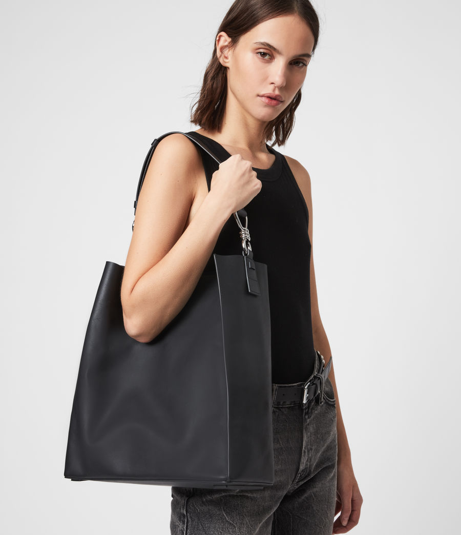 Women's Captain Leather North South Tote Bag (black) - Image 4