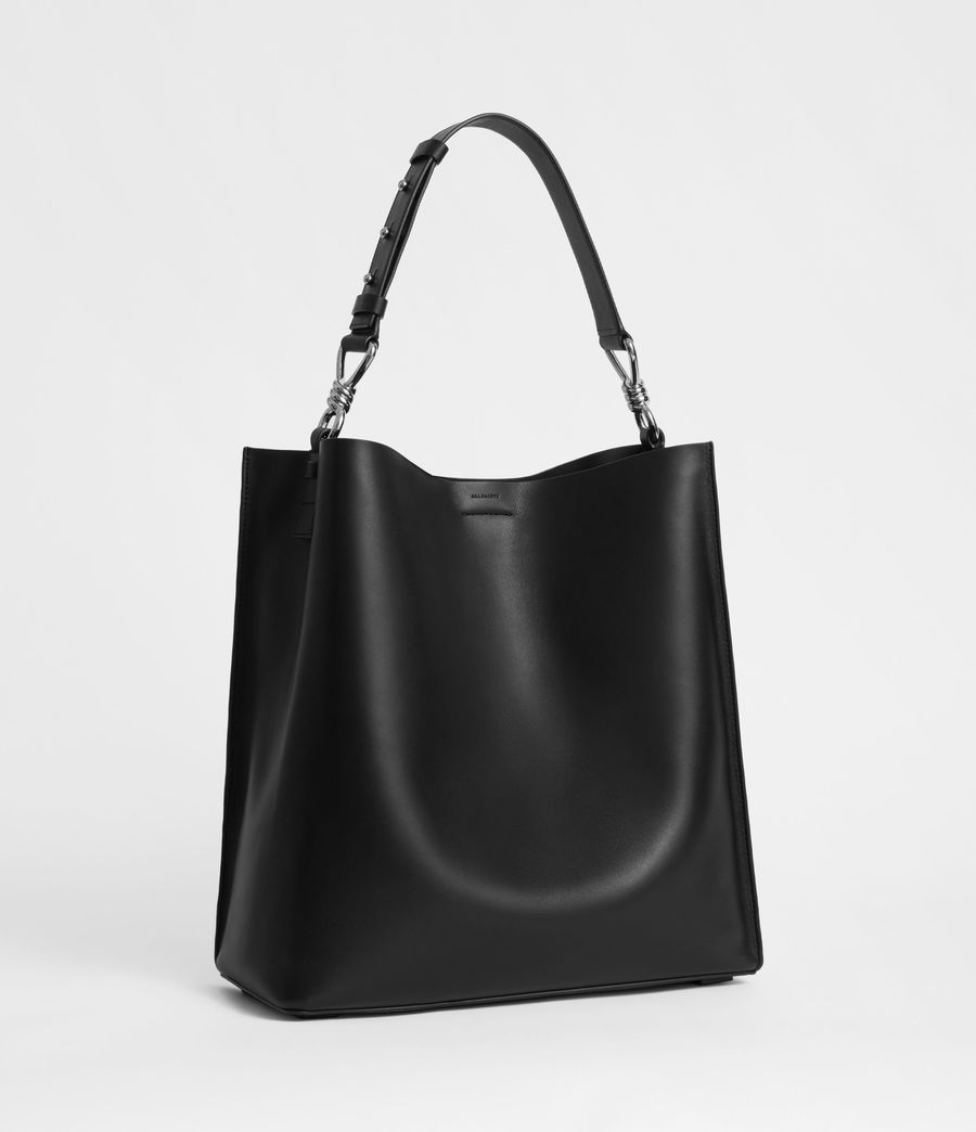 Womens Captain Leather North South Tote Bag (black) - Image 3