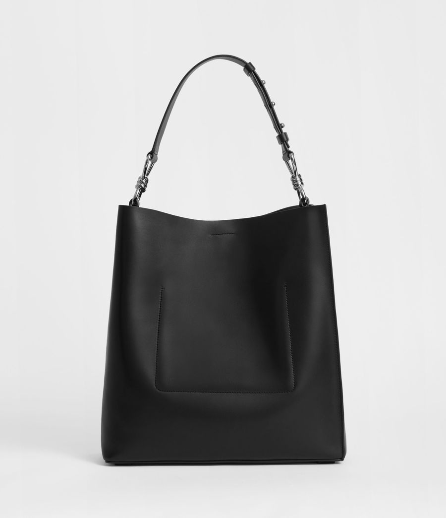 Women's Captain Leather North South Tote Bag (black) - Image 6