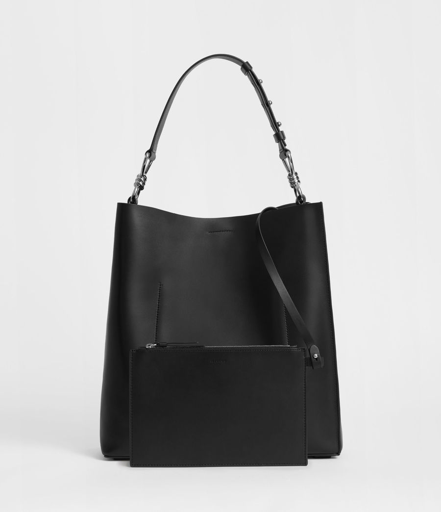 Women's Captain Leather North South Tote Bag (black) - Image 7