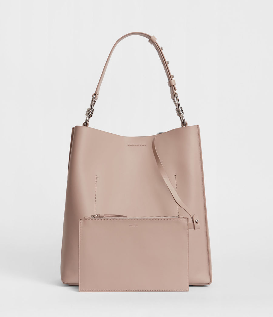 Womens Captain Leather North South Tote Bag (sand_beige) - Image 4