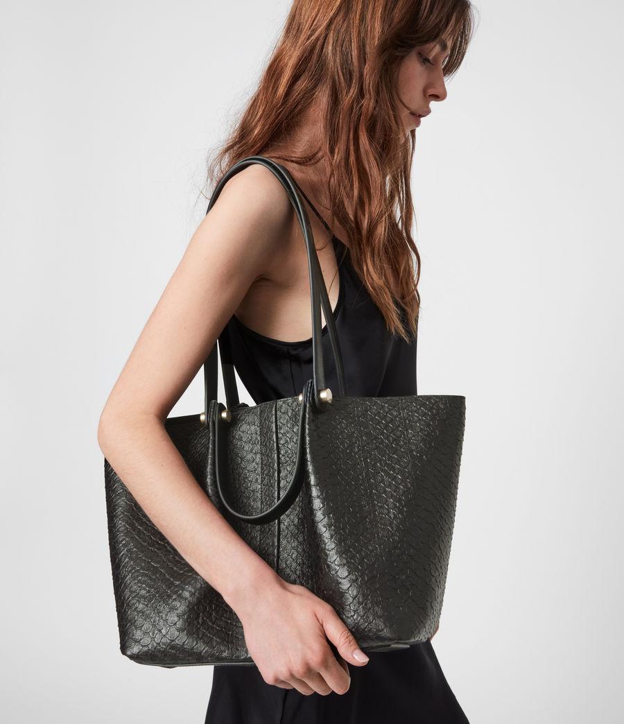 Womens Allington Small East West Leather Tote Bag (black_python) - Image 1