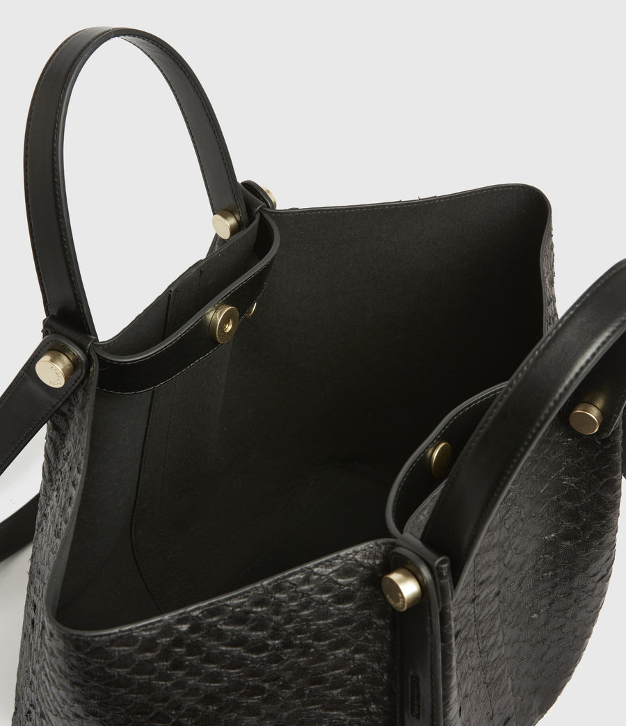 Womens Allington Small East West Leather Tote Bag (black_python) - Image 3