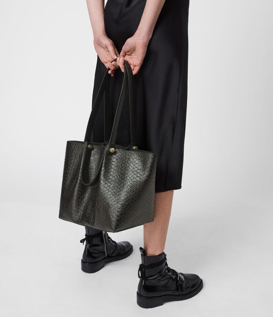 Womens Allington Small East West Leather Tote Bag (black_python) - Image 4