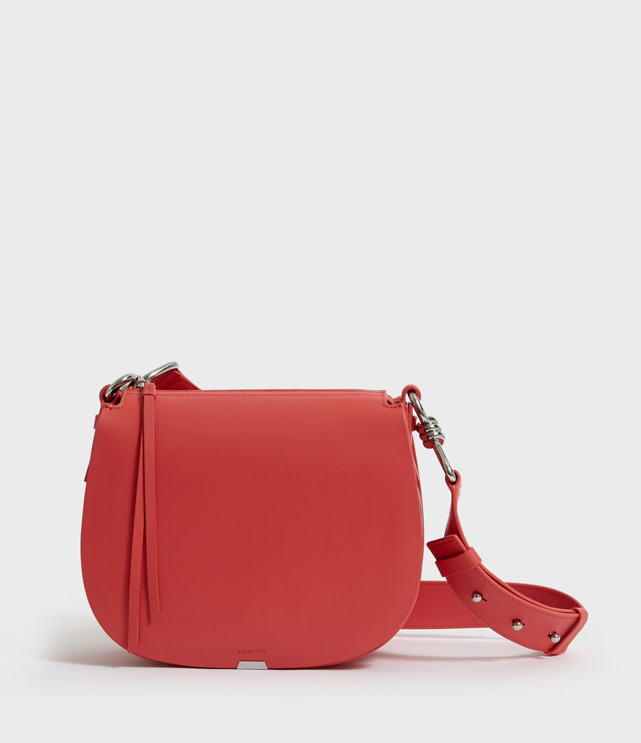 Women's Captain Leather Round Crossbody Bag (coral_pink) - Image 1