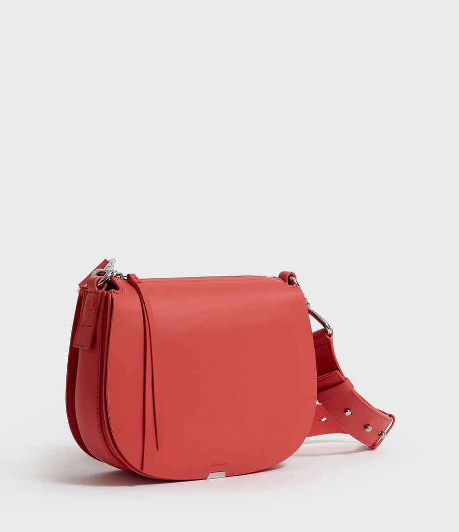 Women's Captain Leather Round Crossbody Bag (coral_pink) - Image 2