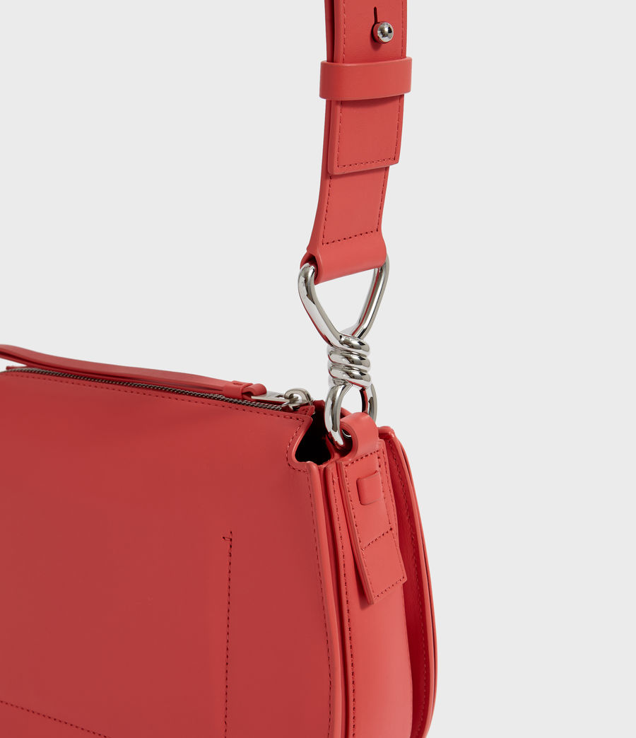 Women's Captain Leather Round Crossbody Bag (coral_pink) - Image 3