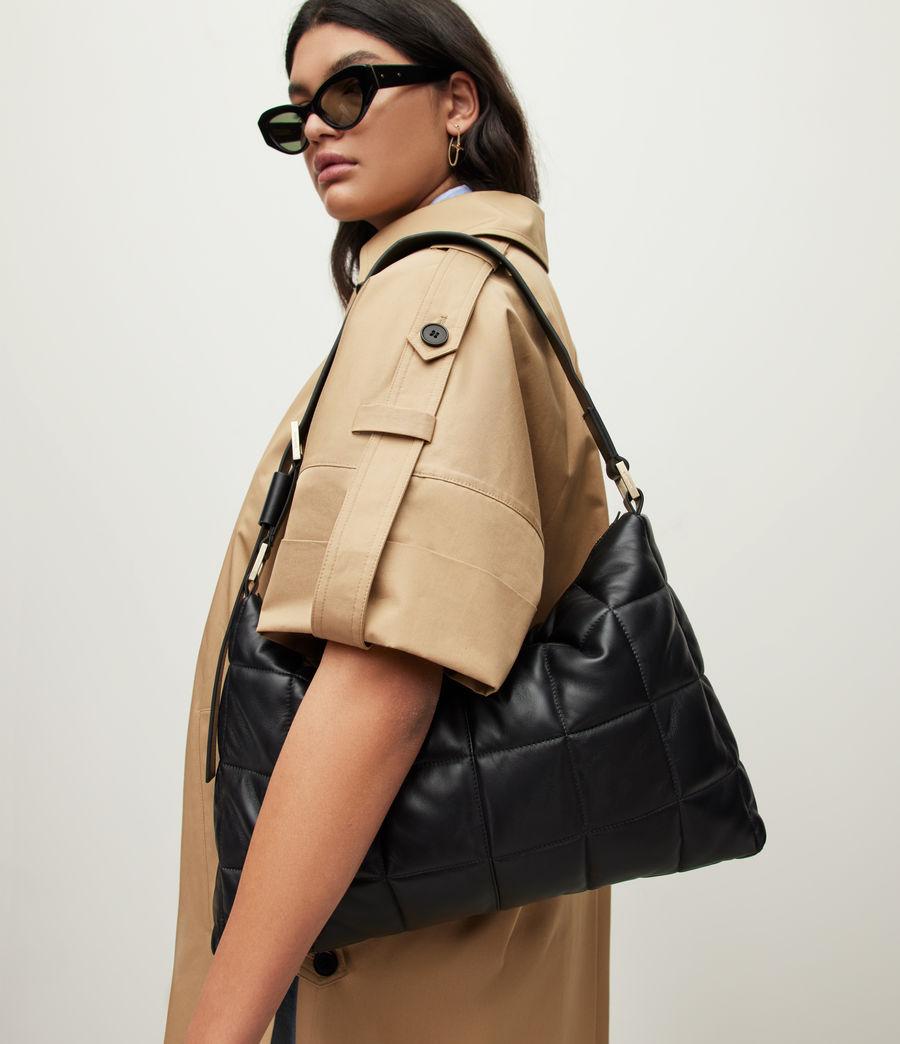 Women's Edbury Leather Quilted Shoulder Bag (black) - Image 1