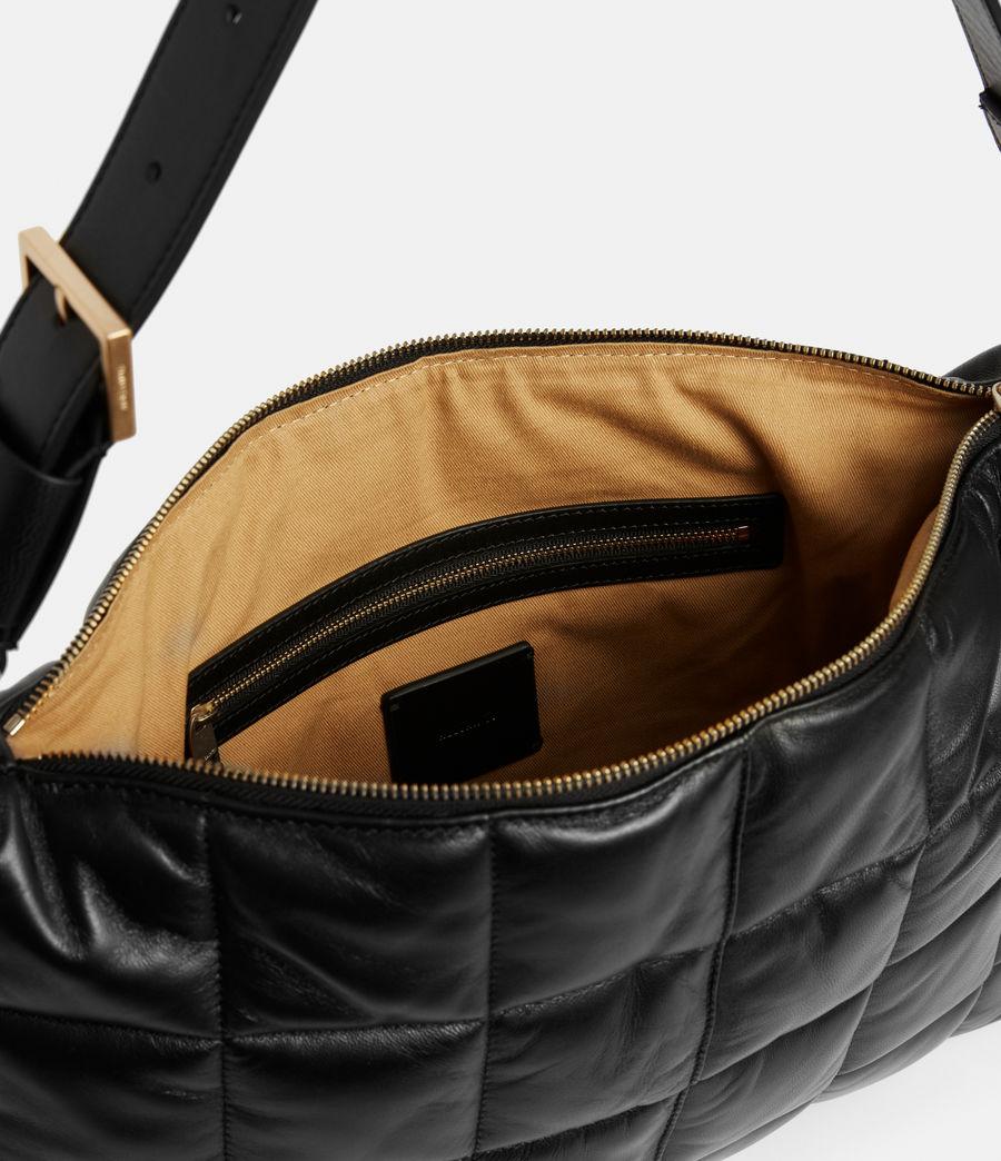 Women's Edbury Leather Quilted Shoulder Bag (black) - Image 3