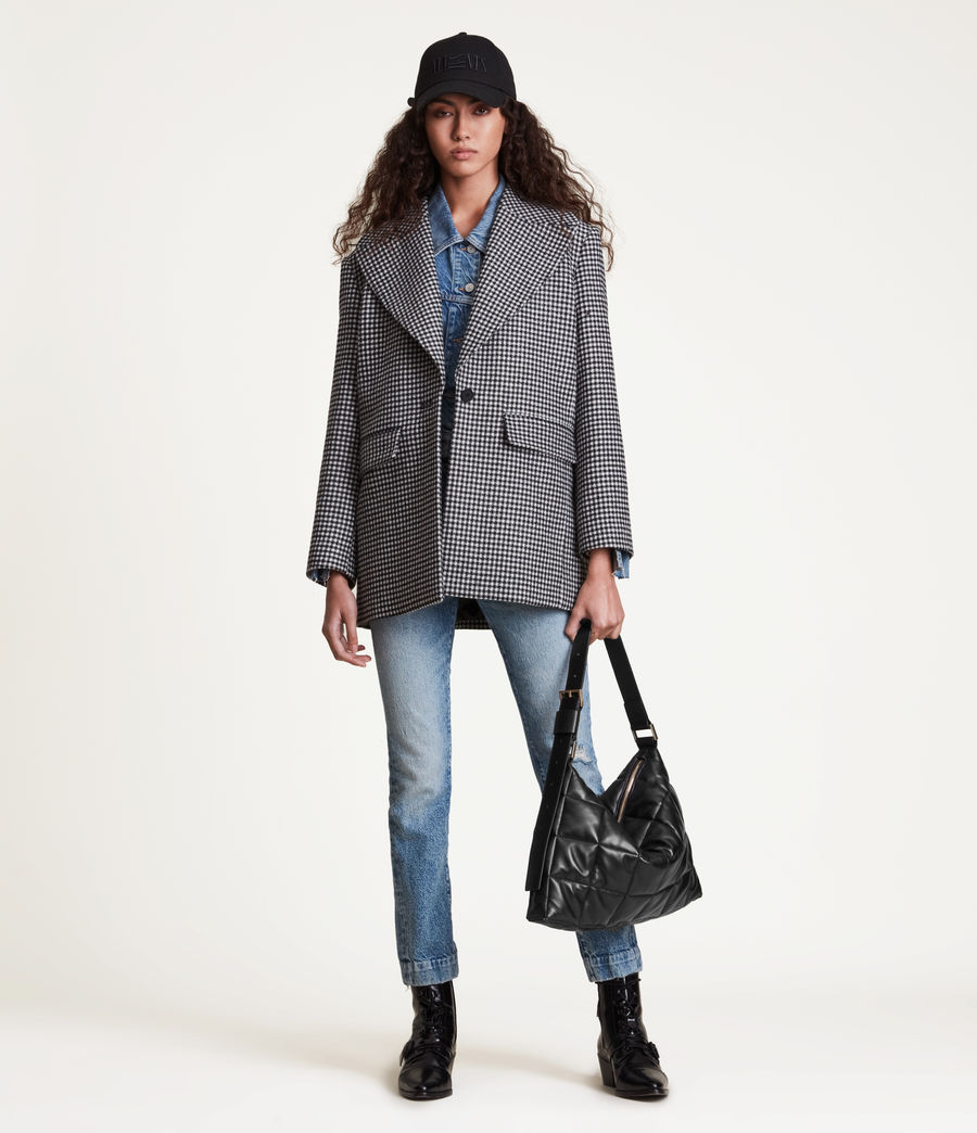 Women's Edbury Leather Quilted Shoulder Bag (black) - Image 4