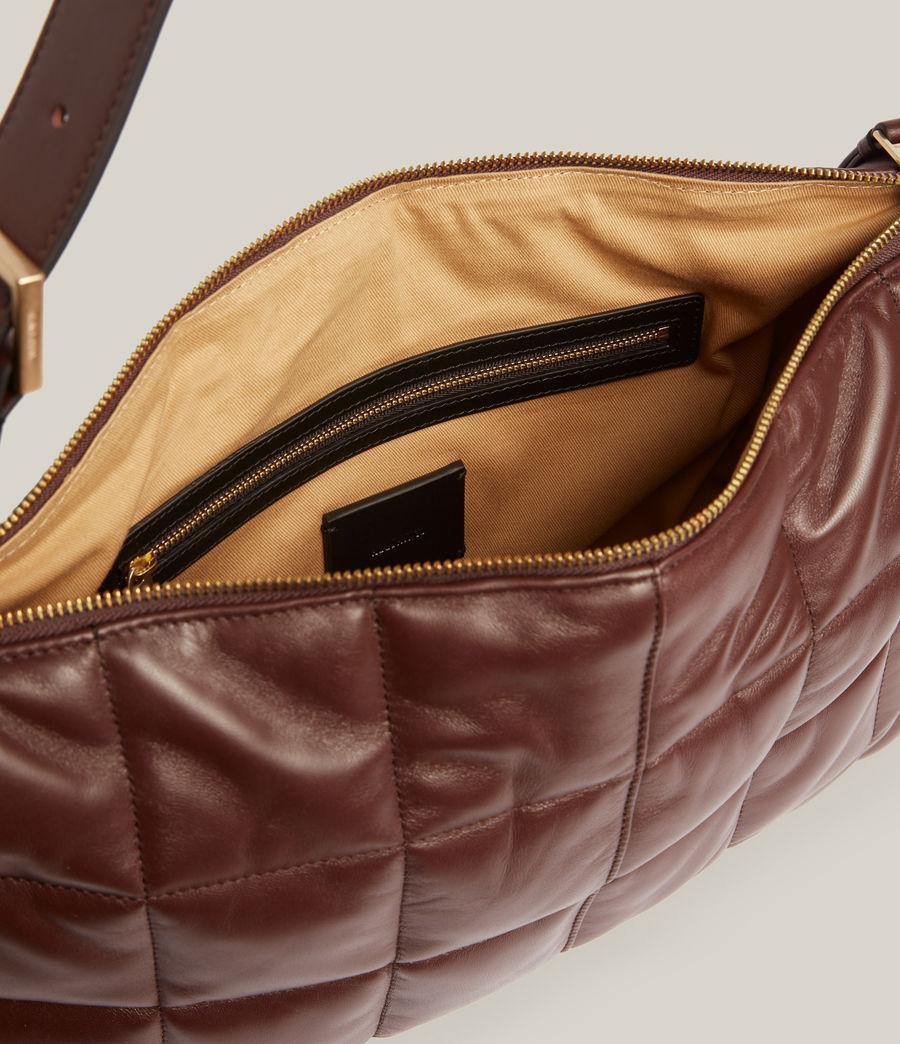 Women's Edbury Leather Quilted Shoulder Bag (oxblood_brown) - Image 3