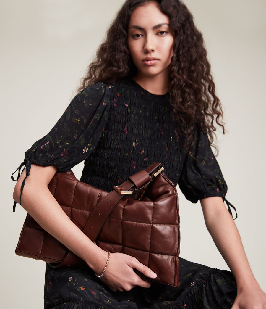 Women's Edbury Leather Quilted Shoulder Bag (oxblood_brown) - Image 4