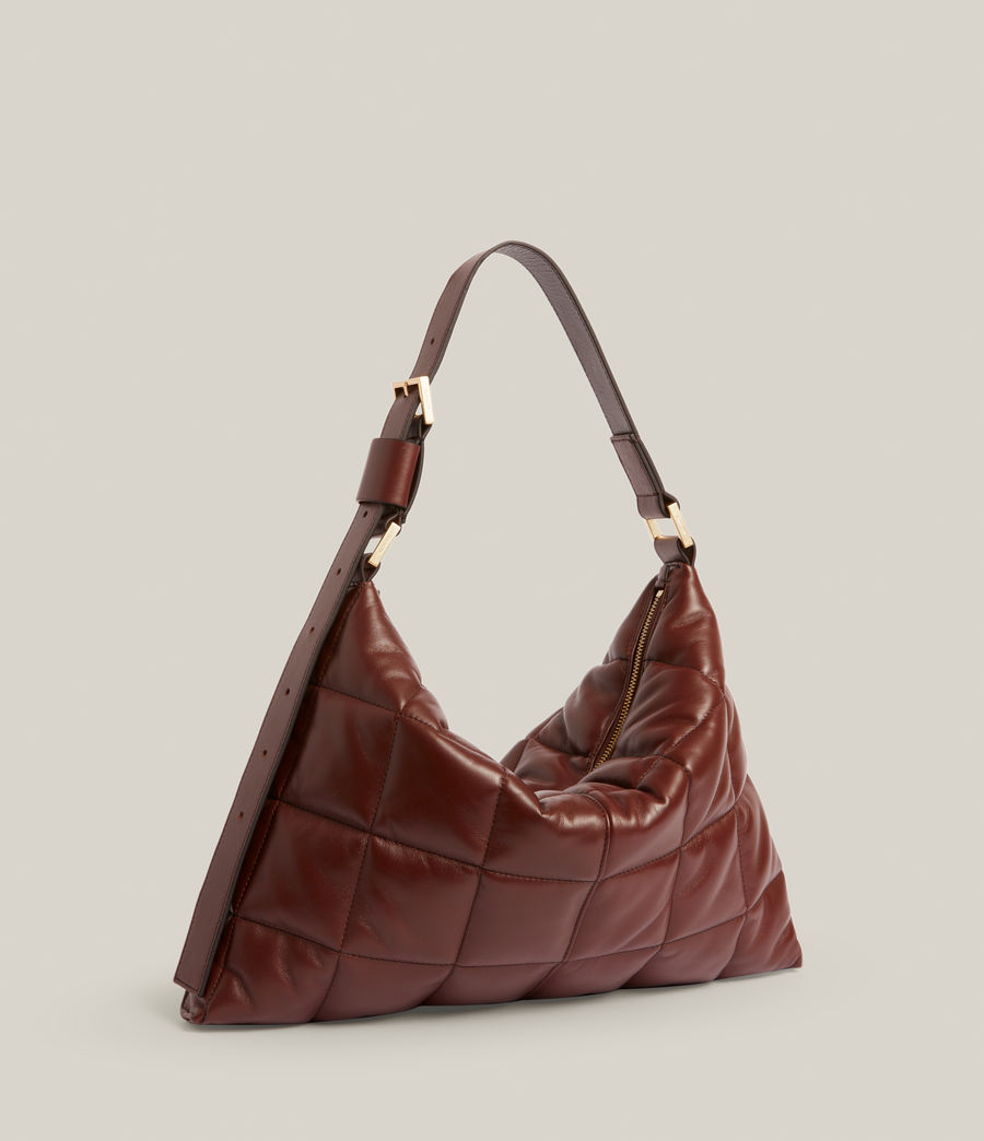 Women's Edbury Leather Quilted Shoulder Bag (oxblood_brown) - Image 5