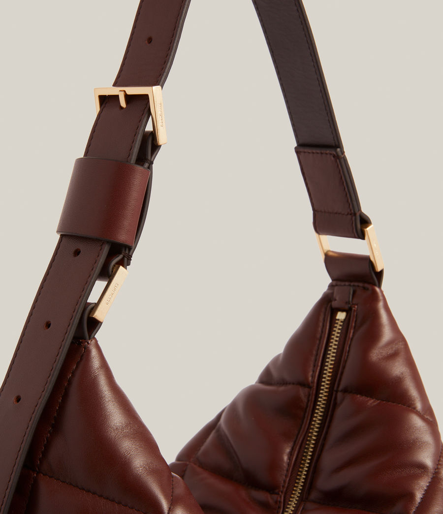 Women's Edbury Leather Quilted Shoulder Bag (oxblood_brown) - Image 6