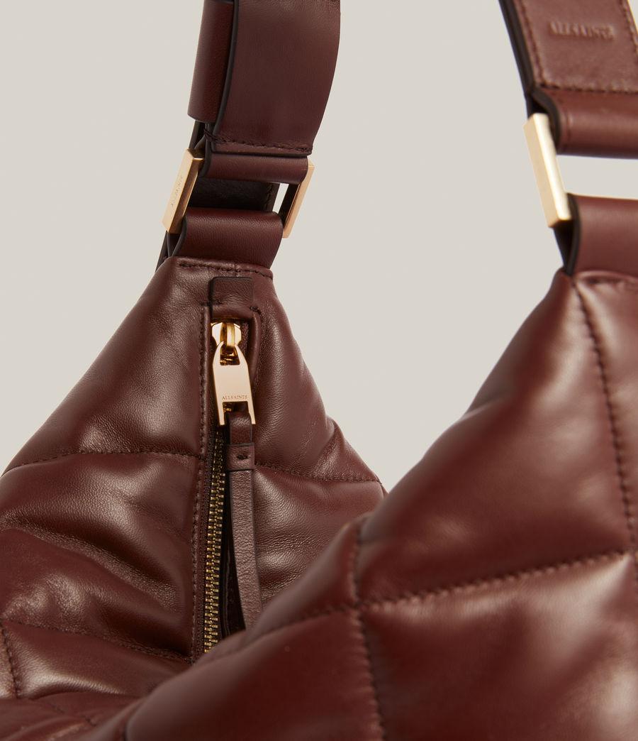 Women's Edbury Leather Quilted Shoulder Bag (oxblood_brown) - Image 7