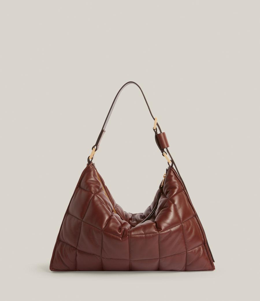 Women's Edbury Leather Quilted Shoulder Bag (oxblood_brown) - Image 8