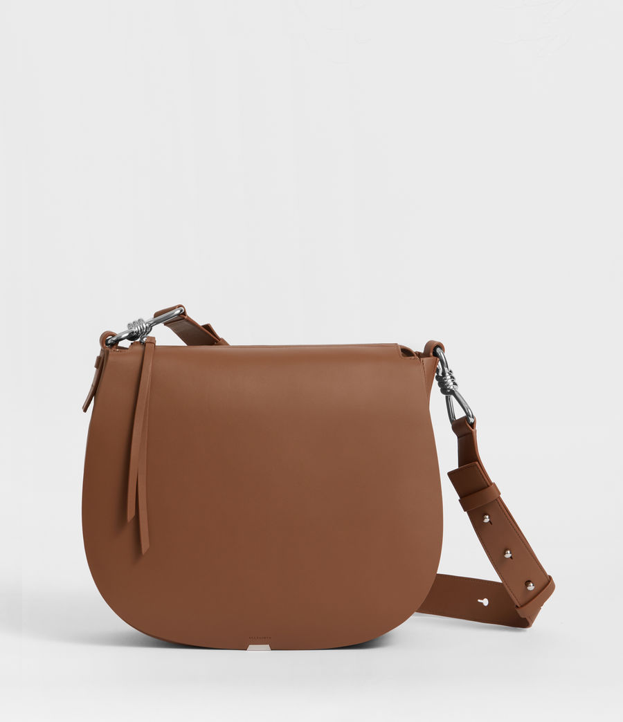 Damen Captain Leder Schultertasche (chocolate_brown) - Image 1