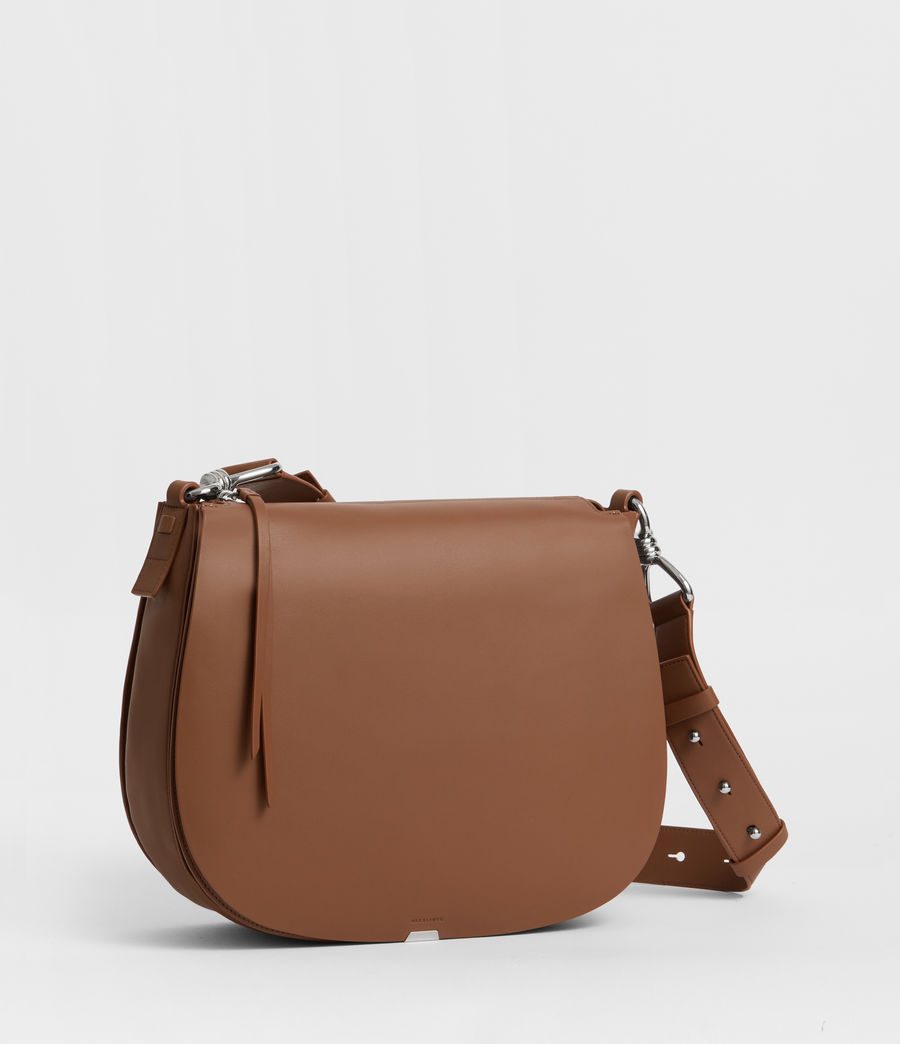 Damen Captain Leder Schultertasche (chocolate_brown) - Image 2