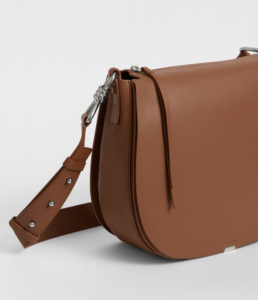 Damen Captain Leder Schultertasche (chocolate_brown) - Image 3