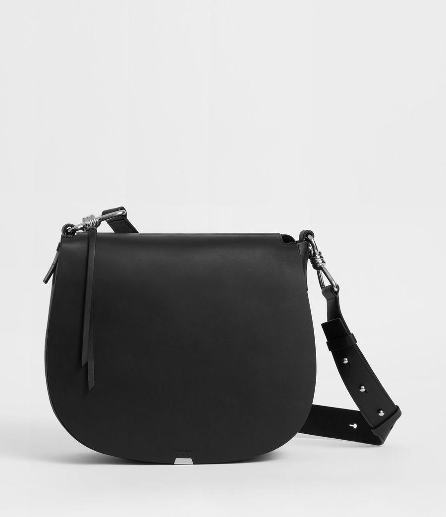 Womens Captain Leather Round Shoulder Bag (black) - Image 1