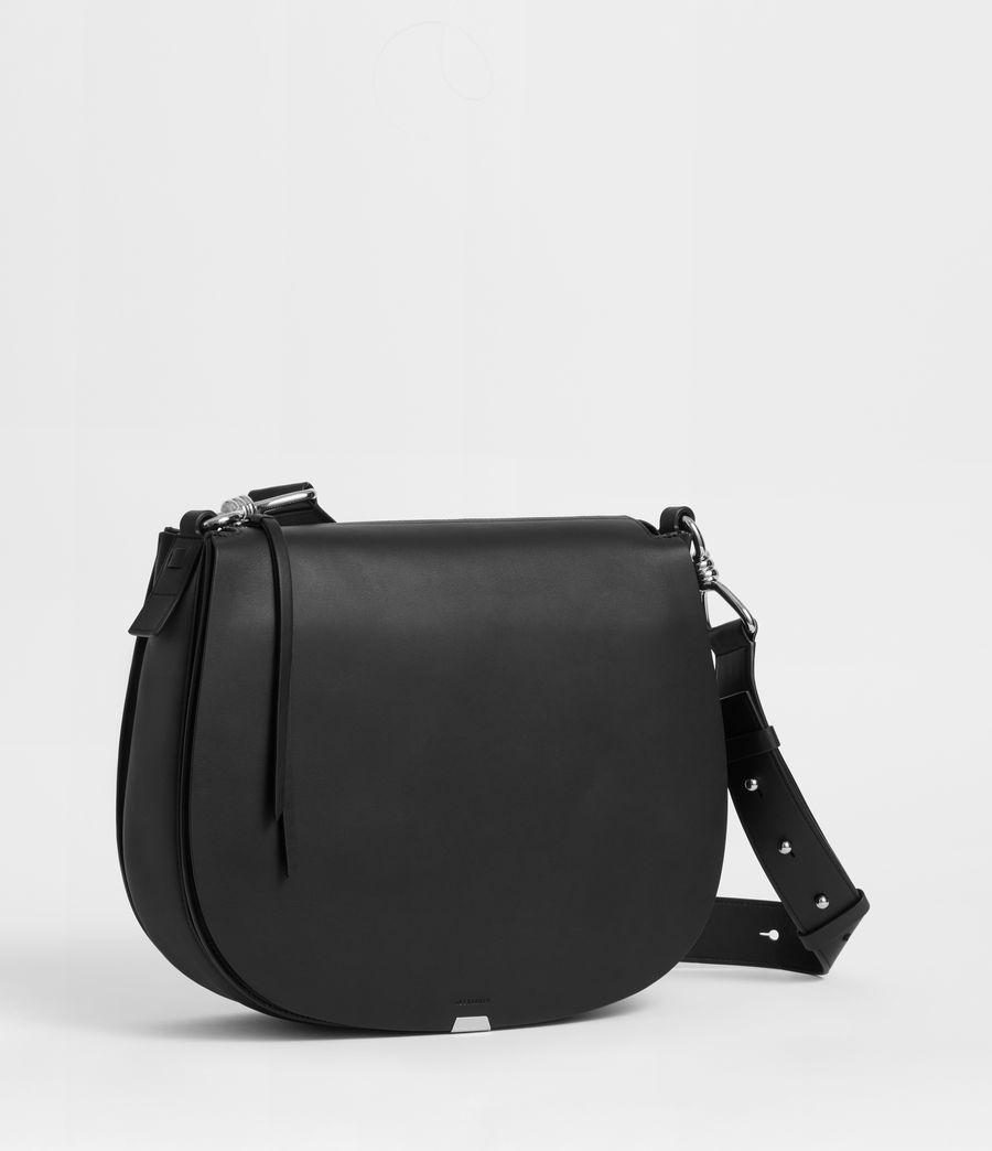 Womens Captain Leather Round Shoulder Bag (black) - Image 2