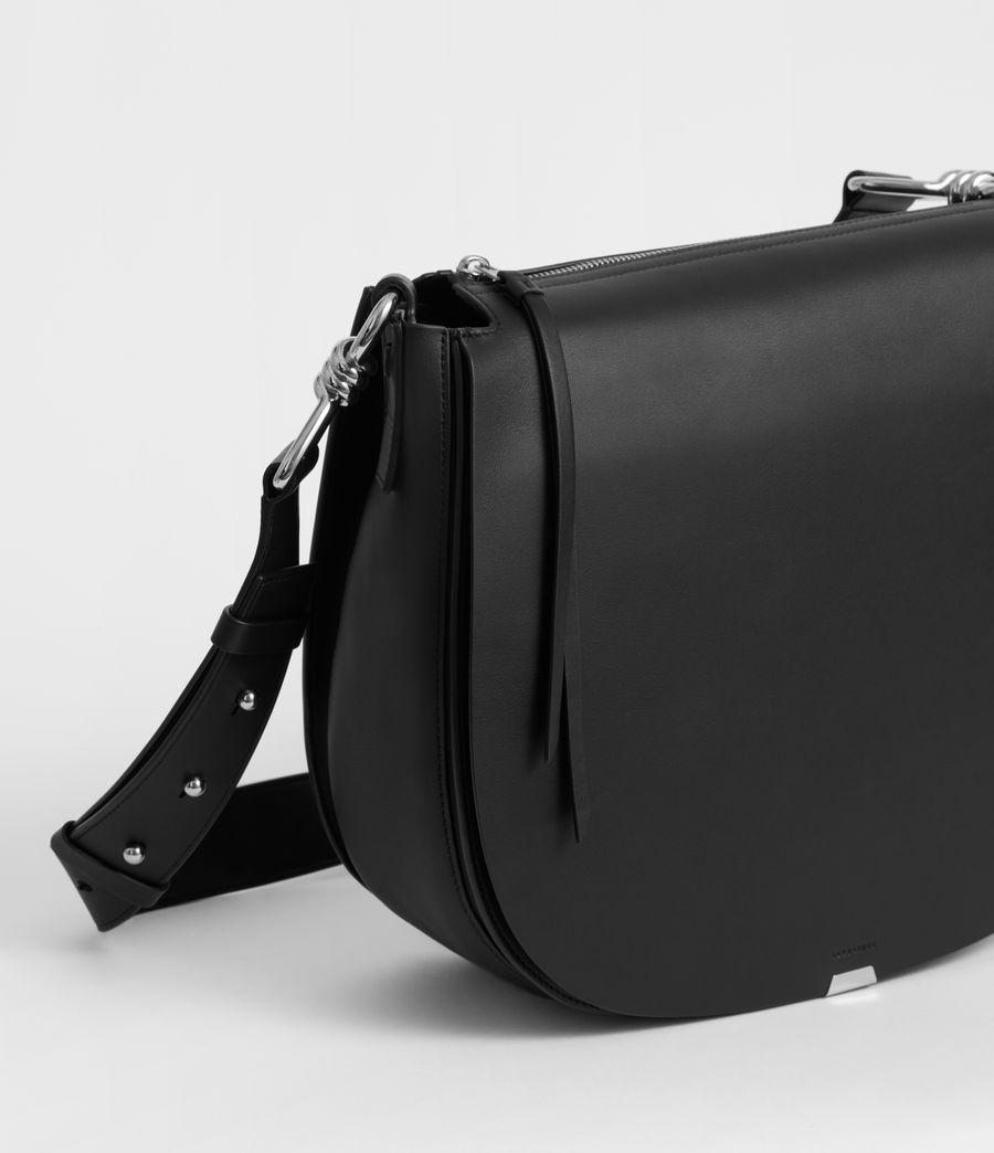 Women's Captain Leather Round Shoulder Bag (black) - Image 4