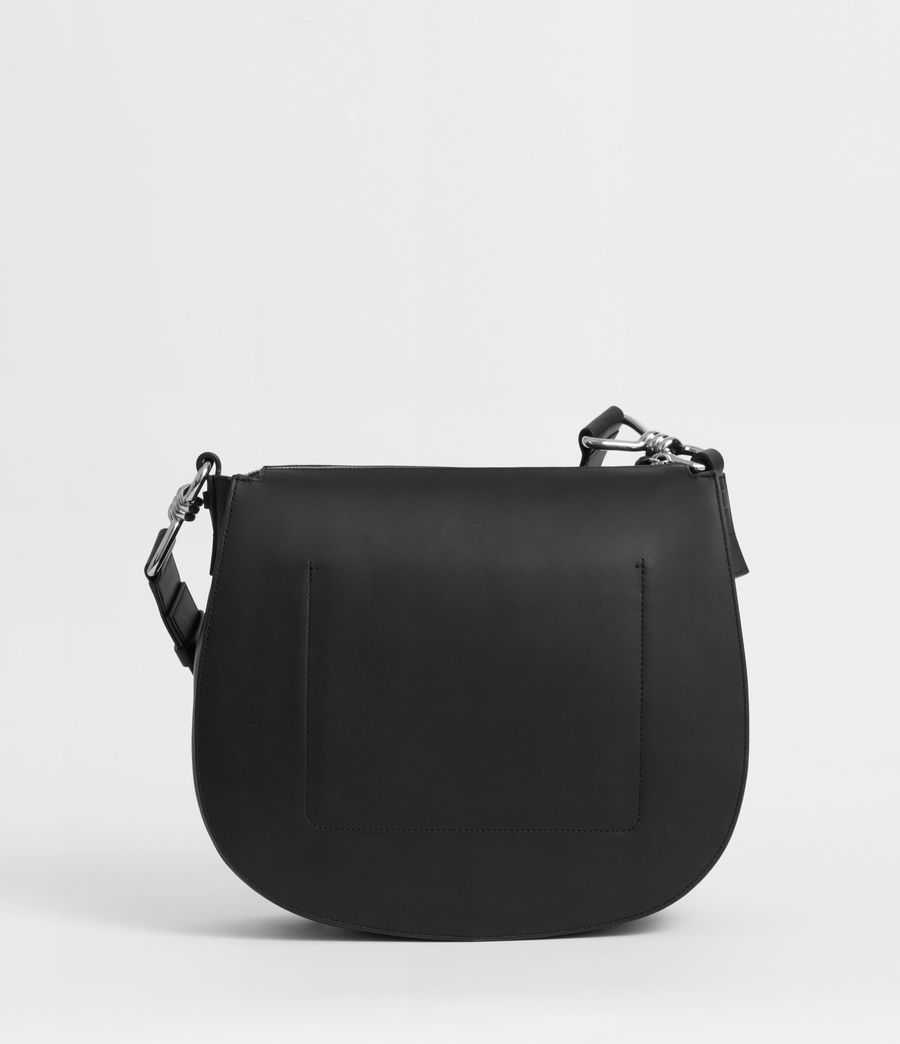 Women's Captain Leather Round Shoulder Bag (black) - Image 6
