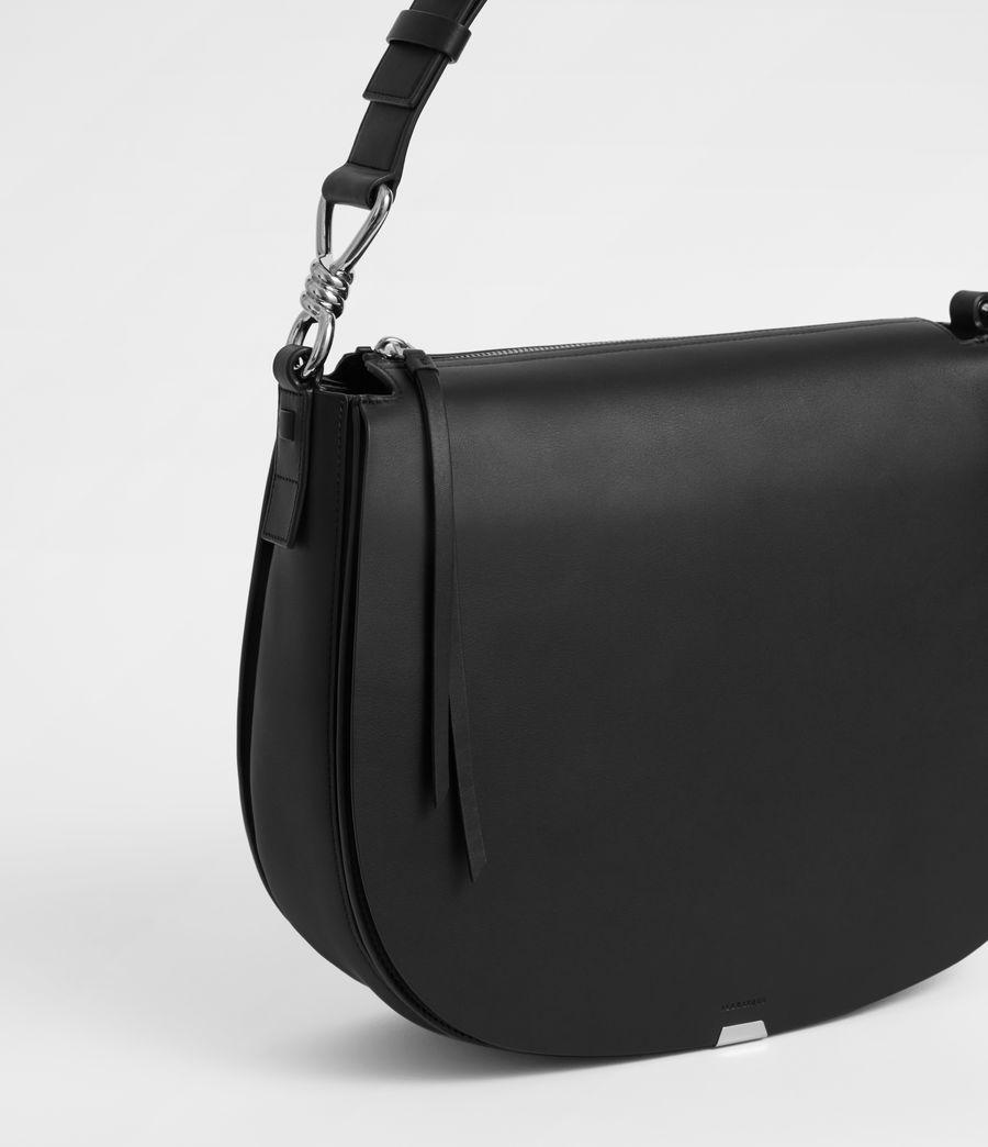Women's Captain Leather Round Shoulder Bag (black) - Image 7