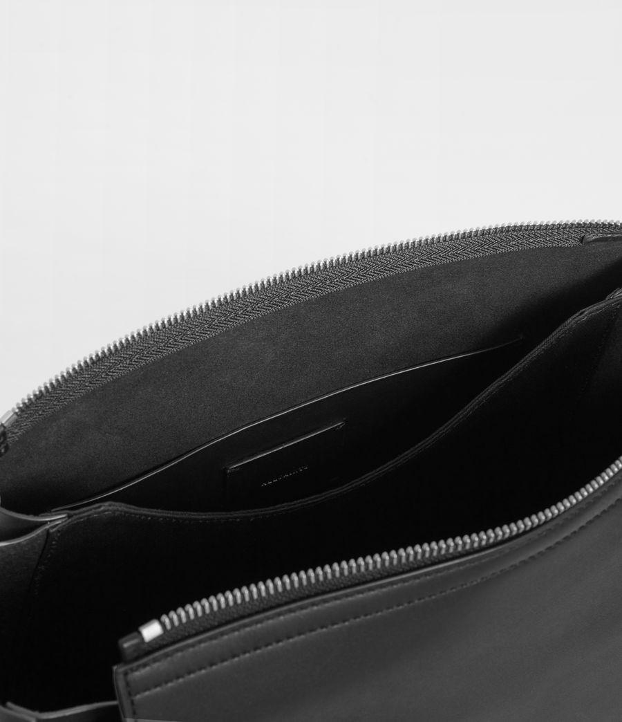 Womens Captain Leather Round Shoulder Bag (black) - Image 8