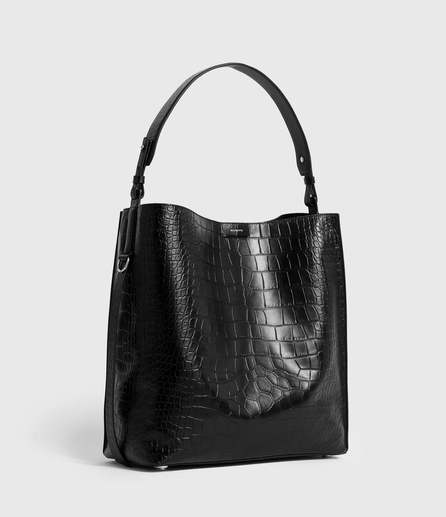 Women's Polly North South Leather Tote Bag (black) - Image 3