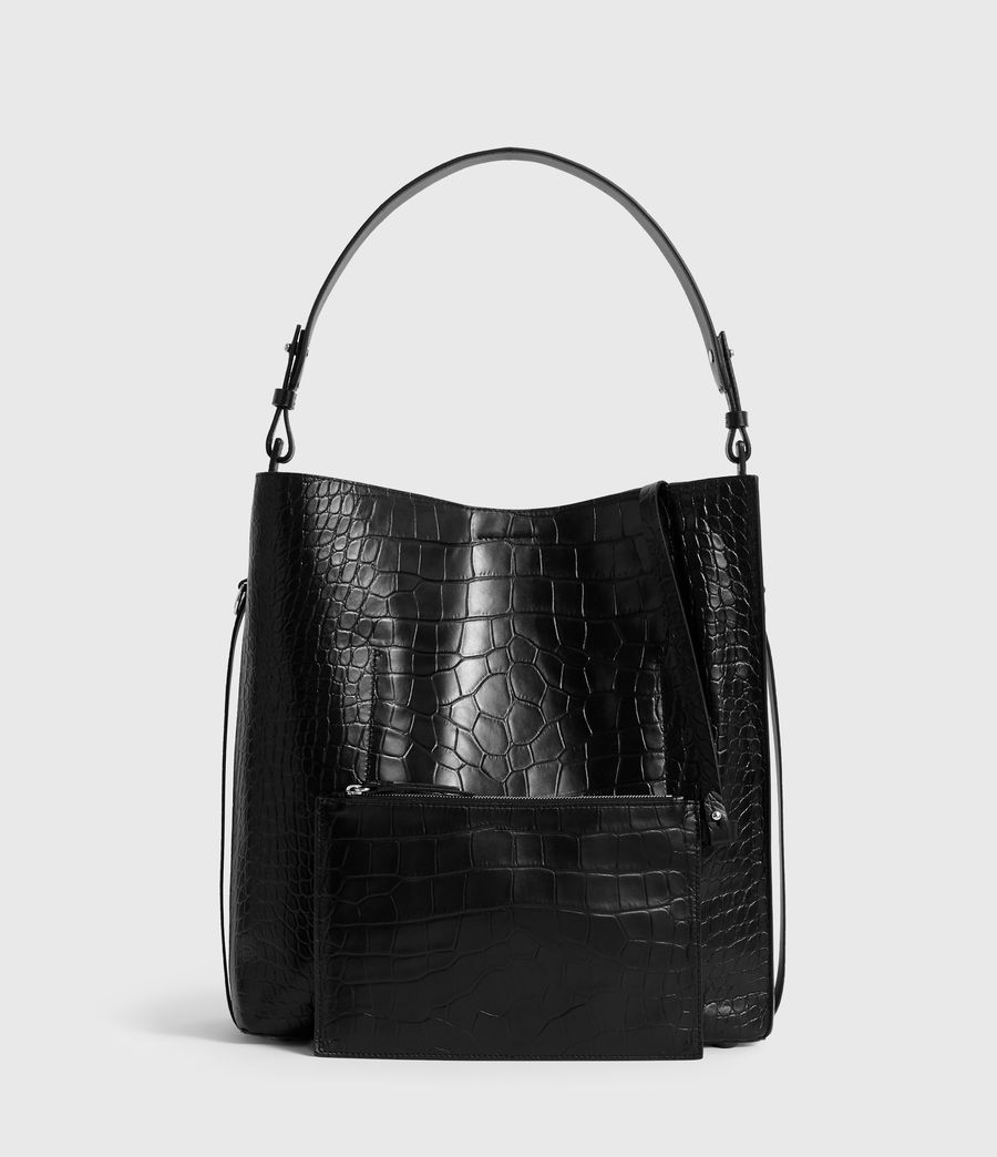 Women's Polly North South Leather Tote Bag (black) - Image 8