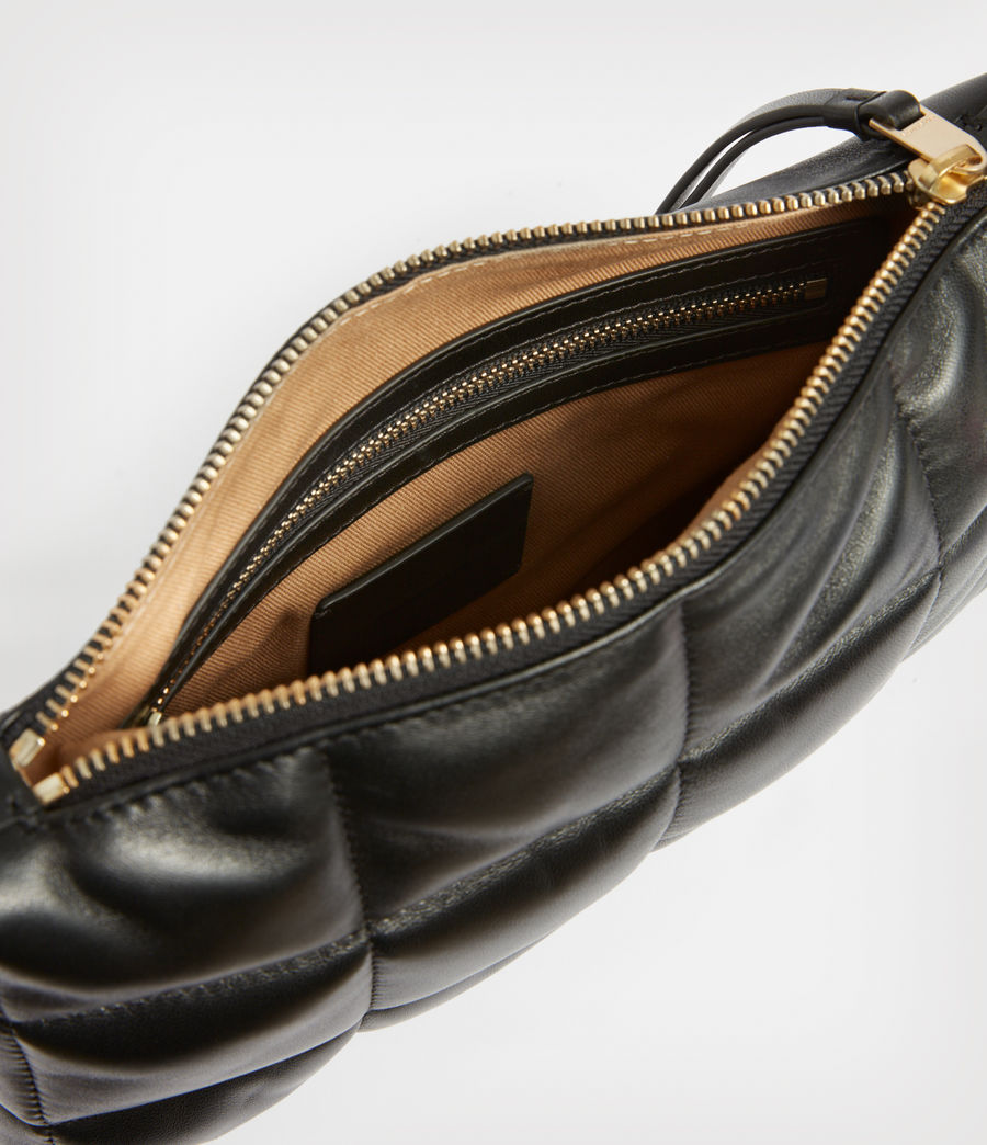 Women's Eve Leather Quilted Crossbody Bag (black) - Image 2