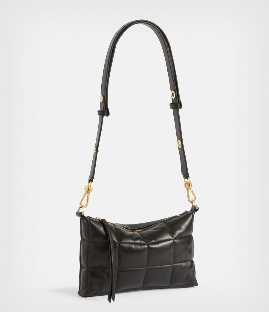 Women's Eve Leather Quilted Crossbody Bag (black) - Image 3
