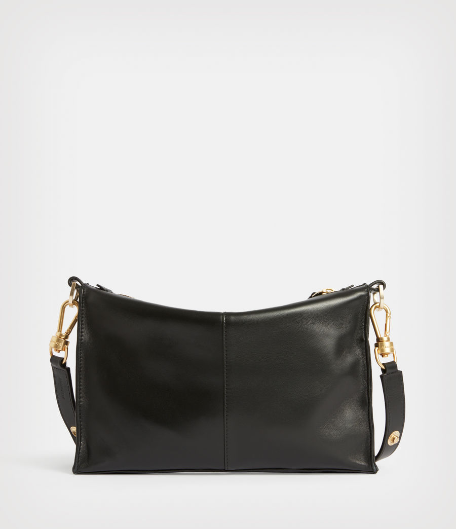 Women's Eve Leather Quilted Crossbody Bag (black) - Image 5