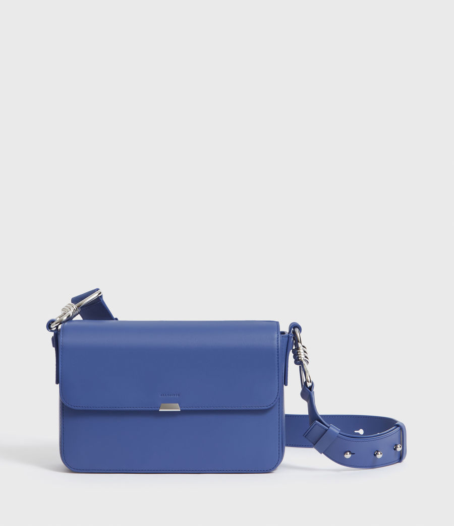 Womens Captain Leather Flap Crossbody Bag (cobalt_blue) - Image 1
