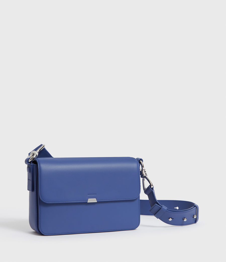 Womens Captain Leather Flap Crossbody Bag (cobalt_blue) - Image 2