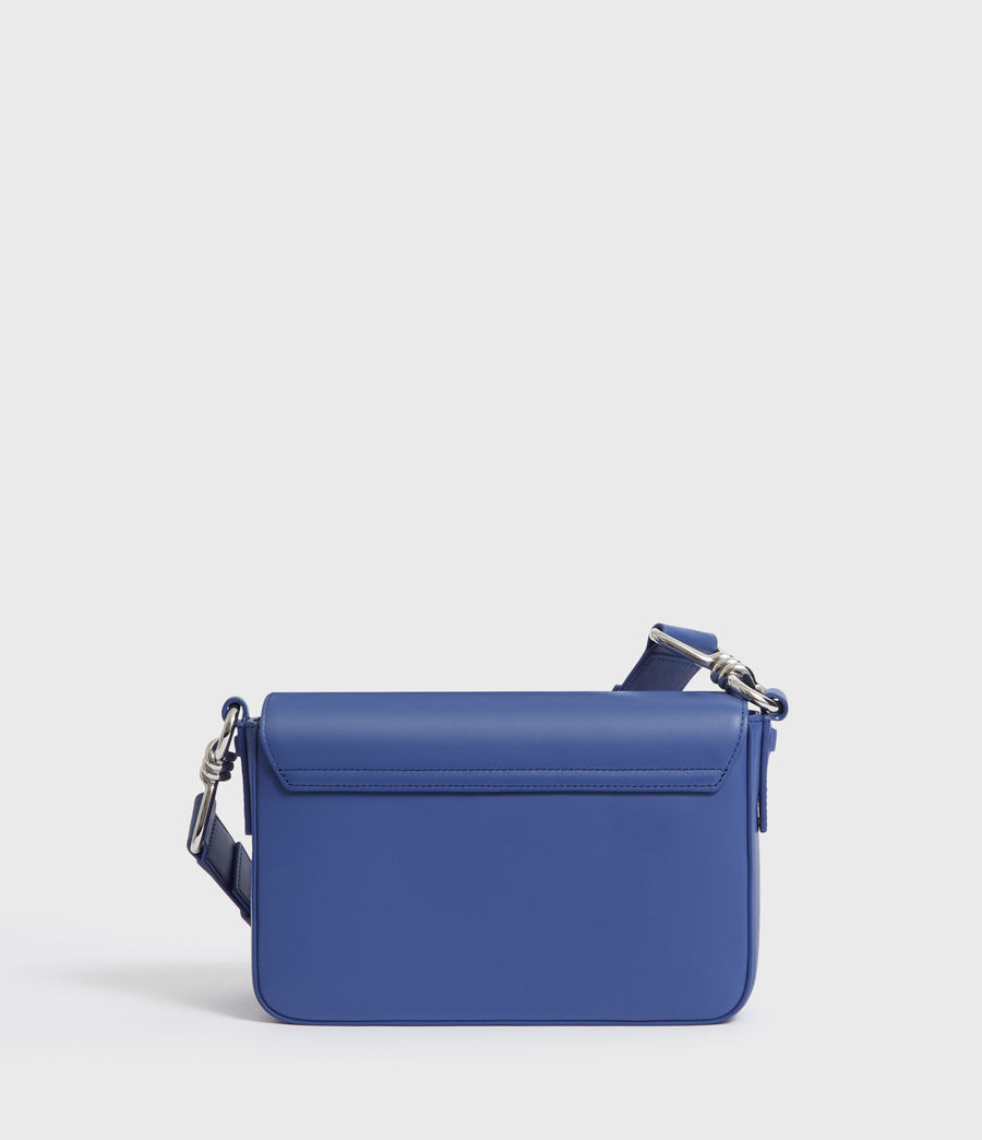 Womens Captain Leather Flap Crossbody Bag (cobalt_blue) - Image 5