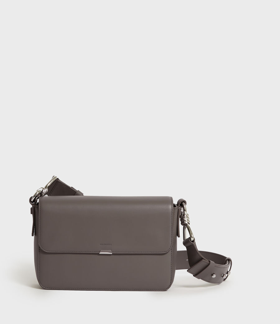 Women's Captain Leather Flap Crossbody Bag (storm_grey) - Image 1