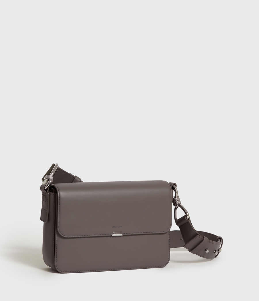 Women's Captain Leather Flap Crossbody Bag (storm_grey) - Image 2